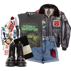 Runnin' From The Cops by bipolarbabe on Polyvore featuring polyvore, fashion, style, Cockpit USA, River Island, Falke, Dr. Martens, Sourpuss and clothing