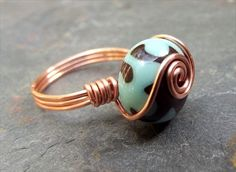 Copper Wire Wrapped Ring Turquoise Green by SherryKayDesigns
