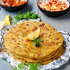 Aloo Paratha - flaky Indian flatbread stuffed with potatoes and peas