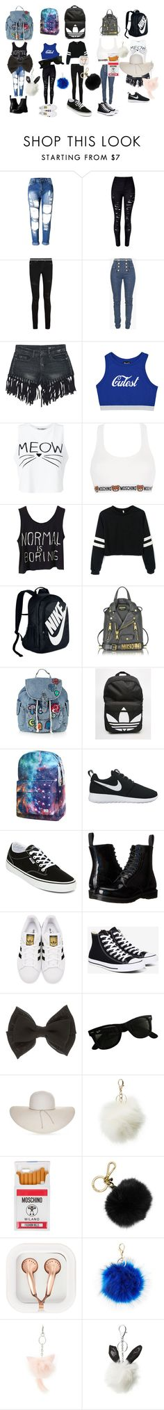 """""""the perfect accessory"""" by akyiajones on Polyvore featuring WithChic, Yves Saint Laurent, Balmain, Sans Souci, Miss Selfridge, Moschino, NIKE, Topshop, adidas and Vans"""