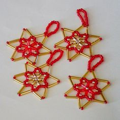 Beaded Stars made with Beads from Glitterwitch. Craft Kits, Craft Supplies, Bead Crafts, Wax, Rice, Crafting, Christmas Ornaments, Stars, Holiday Decor