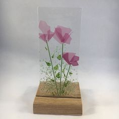 Floral Glass Plaque, Candle Display, Pink Flowers, Fused Glass, Home Decor, Gift for her, Birthday Gift, Birthday Present by WarmGlassFusion on Etsy