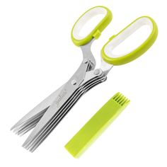 Jenaluca Herb Scissors with 5 Blades and Cover - Cool Kitchen Gadgets - Cutter, Chopper and Mincer - Sharp Heavy Duty Shears for Cutting, Shredding and Cooking Fresh Garden Herbs Smart Kitchen, Cool Kitchen Gadgets, Cool Kitchens, Kitchen Stuff, Kitchen Tools, Green Kitchen, Chick Fil A Chicken Salad Recipe, Home Design, Home Depot