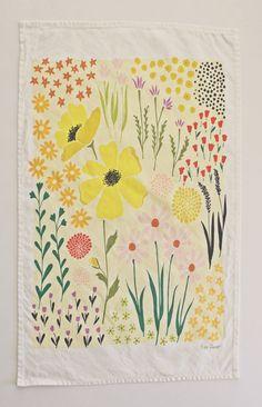 Illustrated handmade dishtowel. Original artwork by Lisa Rupp.