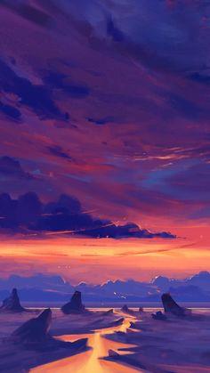 My Favorite Wallpaper: Red sky Wallpaper Animes, World Wallpaper, Sunset Wallpaper, Screen Wallpaper, Mobile Wallpaper, Twilight Sky, Stunning Wallpapers, Fantasy Landscape, Fantasy Art