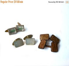 Items similar to THREE pair of Vintage Cuff Links Leather MOP Green Convertible on Etsy Convertible, Third, Cufflinks, Green, Leather, Gifts, Etsy, Vintage, Pug Dogs