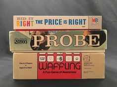Lot of 3 Vintage Board Games Price is Right Probe Waffling 60's 80's Game Night #MiltonBradley