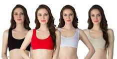 Sports Bra Women's Non Padded Sports Bra Fabric: Nylon Spandex Print or Pattern Type: Solid Padding: Non Padded Type: Sports Bra Multipack: 4 Sizes: Free Size (Underbust Size: 29 in Overbust Size: 35 in) Country of Origin: India Sizes Available: Free Size *Proof of Safe Delivery! Click to know on Safety Standards of Delivery Partners- https://ltl.sh/y_nZrAV3  Catalog Rating: ★4 (1330)  Catalog Name: Stylish Women Bra CatalogID_638334 C79-SC1409 Code: 963-4431878-