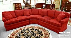Curved red velvet Sectional Sofa having square rd cushions combined by round areas rug on grey floor. Marvelous Decoration Of Curved Sectional Sofa For Your Furniture Inspiration Sectional Sofas Cheap, Sectional Sofa With Recliner, Leather Sectional Sofas, Sleeper Sofa, Leather Sofa, Curved Couch, Curved Sectional, Sofa Design, Round Sofa Chair