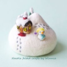 Needle felted Winter wonderland Pincushion handmade OOAK wool sculpture by FunFeltByWinnie on Etsy