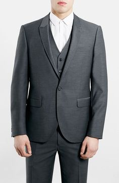 Men's Topman Slim Fit Grey Diamond Texture Suit Jacket