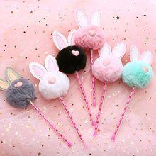 Cute Colored Warm Plush Rabbit Ears Gel Pen Kawaii Love Black Ink Pen for Girl Kids Gifts School Office Stationery Supplies Fun Craft, Craft Stick Crafts, Fluffy Rabbit, Rabbit Ears, Kawaii Pens, Cute Pens, Pom Pom Crafts, Cute School Supplies, Office Supplies