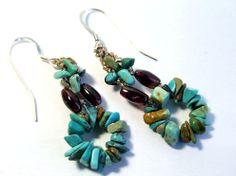 Turquoise Earrings Garnet Earrings Blue Earrings by IrisElmJewelry
