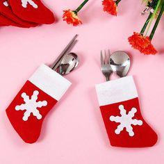 12 PCS/Set Santa Sliverware Bag Christmas Decoration Dining Table Knife Fork