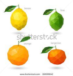 Polygonal fruit - citrus. Vector illustration - stock vector