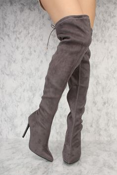 9bd59b750774 Grey Pointy Toe Thigh High Boots Single Sole Stiletto Heel Faux Suede