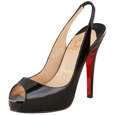Christian Louboutin Leather Architek Platform Slingbacks Black Red Bottom Shoes