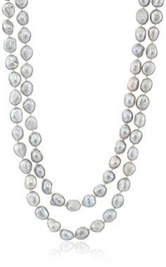 """6-7mm Dyed Silver Gray Baroque Freshwater Cultured Pearl Endless Necklace, 50\"""" ** You can get more details by clicking on the image."""