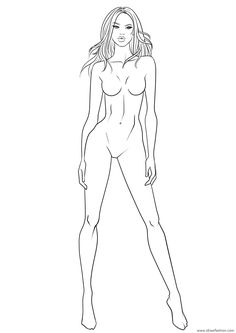 Body base #40 for fashion design sketches. Download this free figure template and many more to speed up the creation of your collections