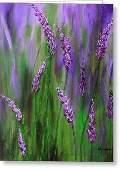 Lavender Garden Greeting Card by Kume Bryant