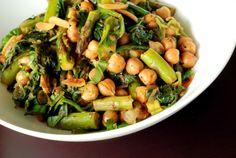 Asparagus and Chickpea Stir-Fry with Hoisin Sauce. Vegetarian homemade food