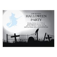 Spooky Witch Graveyard Halloween Party Invitation