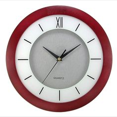 11 in. Round Cherry Wood Frame, White Screening, Silver Dial Wall Clock, Red/White