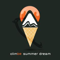 summer dreaming about cold of winter (based on climbe logo, ice cream and drytool)