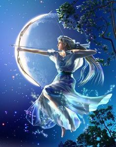 Greek Mythology - Artemis.  Daughter of Zeus, twin of Apollo.  Goddess of the wilderness, the hunt and wild animals, and fertility.