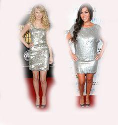 silver dress, Taylor Swift VS Kourtney Kardashian, fashion diva who-wore-it-better celeb celebrity