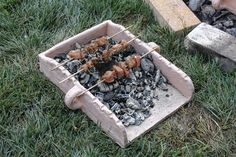 A replica of an ancient Mycenaean souvlaki tray that show how meat and vegetables would have been grilled. (Julie Hruby photograph)