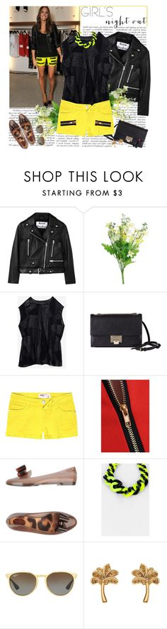 """""""night out summer edition"""" by helena99 ❤ liked on Polyvore featuring Acne Studios, Helmut Lang, Jimmy Choo, RSQ, Vivienne Westwood Anglomania + Melissa, Ray-Ban, Topshop, New Look, shorts and flats"""