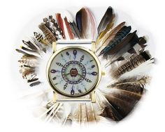 Feathers Watch Face for Interchangeable Bands by PlanetZia on Etsy