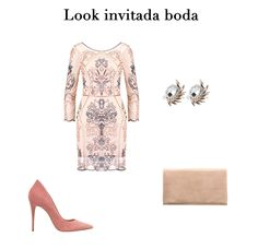 Nude embroidered dress+light pink pumps+nude clutch+earrings. Fall Morning Wedding Outfit 2016