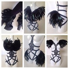 Feather Epaulettes Anklets Collar Bustle Multi by lovechildboudoir