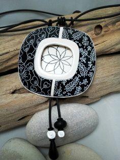 Black & white pendant, silkscreen, polymer clay jewerly
