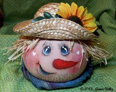 Halloween - Fall Scarecrow Gourd (HP) Hand Painted, Original Design   eBay