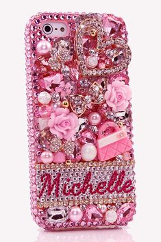 The Pink Purse Personalized Name & Initials iPhone 5C 5S bling cases cool phone accessories for girls