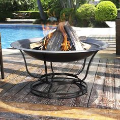 Simple and sleek, the Crosley Outdoor diam. Fire Pit is sure to be the conversation piece of any backyard bash! Enjoy burning multiple pieces of wood in this sturdy high-temperature steel pit. Outdoor Fire, Outdoor Living, Outdoor Decor, Outdoor Stuff, Fire Pit Ring, Fire Pits, Fire Pit Party, Round Fire Pit, Wood Burning Fire Pit