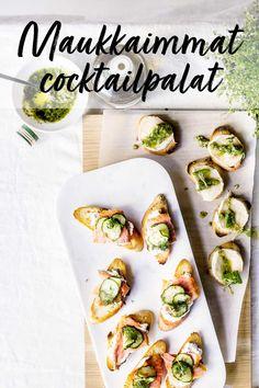 Cocktailpalat tekevät kauppansa isoissa ja pienissä juhlissa. Pienet suolaiset suupalat ovat helppoja tehdä, mutta näyttävät kauniilta ja hienostuneilta. Fresh Rolls, Starters, Mexican, Ethnic Recipes, Food, Essen, Meals, Yemek, Mexicans