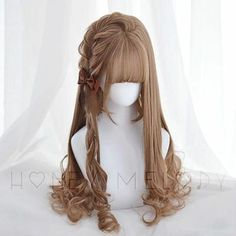 Kawaii Hairstyles, Pretty Hairstyles, Wig Hairstyles, Wig Websites, Grey Hair Wig, Best Lace Front Wigs, Kawaii Wigs, Lolita Hair, Hair Sketch