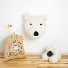 Faux Polar Bear Knitting Kit - Make Your Own Arctic Friend - Taxidermy Trophy Head Pattern