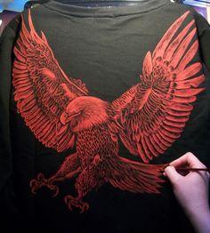 Attacking eagle :) Paulina Szczepaniak, 2015 Painting on men blouse, back. Textile paint.  #attacking  #eagle #painting #blouse  #textile #fabric