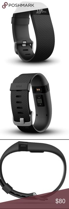 Fitbit HR in black This is the black Fitbit HR. I got it for Christmas this year, but I've never used it. My wrists are very small, so it doesn't sit the right way in order for it to work on me. This will include the charger. Fitbit Other