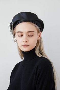 9fa2cf1eca568 EVA Black eco leather beret with eyelets