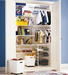 Organise your children's wardrobe with elfa® and you will be surprised at the room you have available. Available from Howards Storage World.
