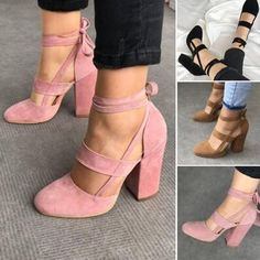 fee0fb255b9b Details about Women Lace Up Suede High Heels Thick Platform Stilettos Pull  On Shoes Plus Size