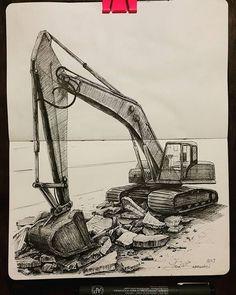 Sketch A Day, Car Sketch, Caterpillar Tattoo, Ing Civil, Cat Excavator, Still Life Drawing, Graffiti Drawing, Artist Sketchbook, Truck Art
