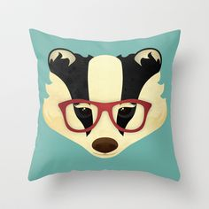 Hipster Badger by Jenny Lloyd – for Compassionate Dorset Badger Pictures, Dream Rooms, Compassion, Disney Characters, Fictional Characters, Kids Room, Hipster, Throw Pillows, Cute