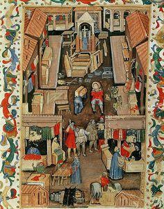 Il mercato di Porta Ravegnana a Bologna –Miniatura dalle Matricole della Società dei Drappieri, 1411